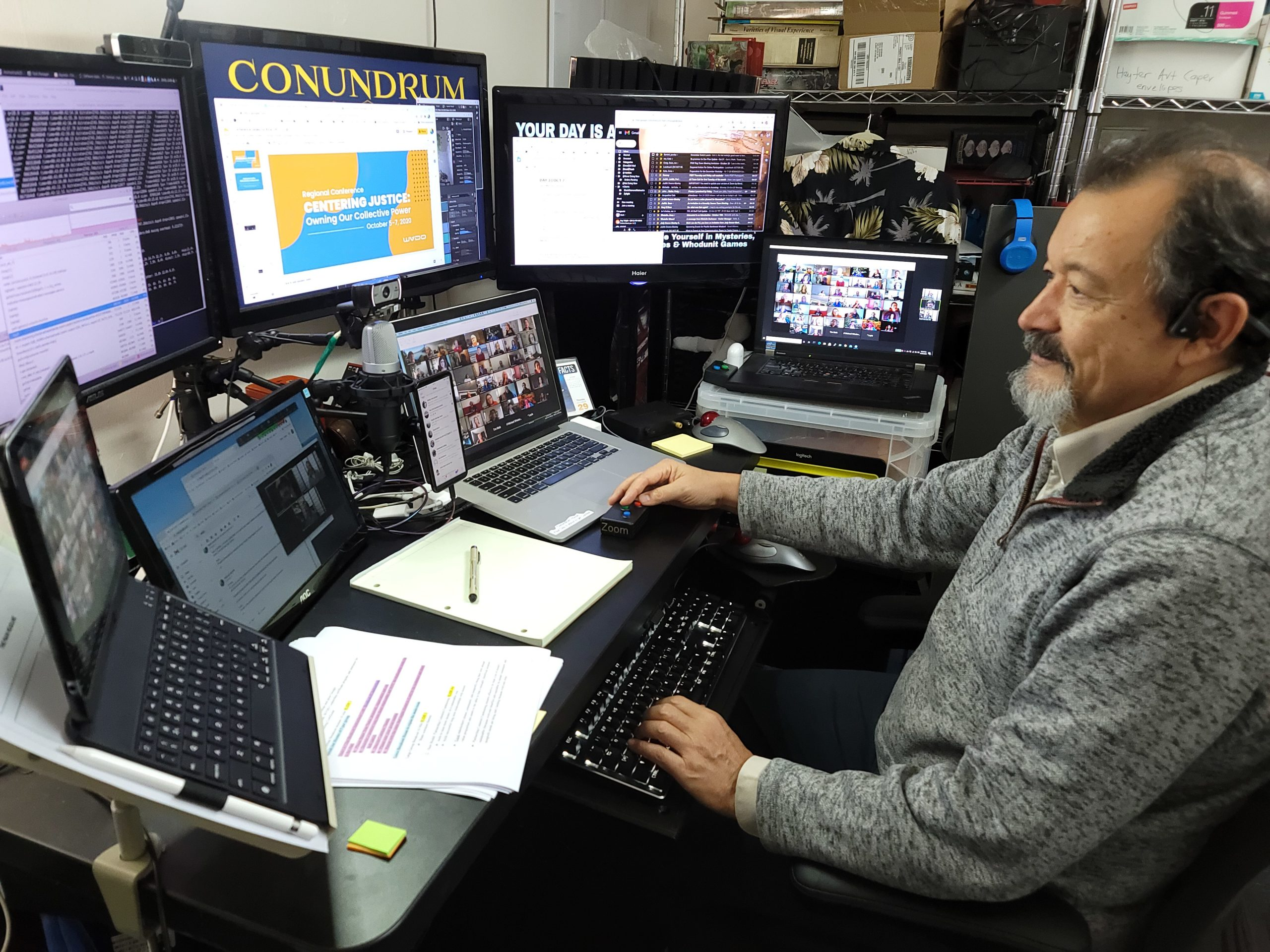 Mark at his Zoom mission control  desk